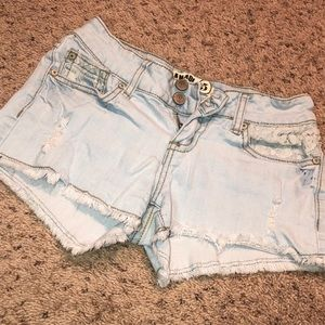 Light denim and lace shorts